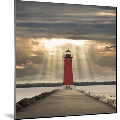 Manistique Lighthouse and Sunbeams, Manistique, Michigan '14-Monte Nagler-Mounted Photographic Print