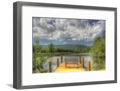 Pond Bench Dock and Mountain-Robert Goldwitz-Framed Photographic Print