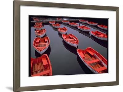 City Island Red Row Boats-Robert Goldwitz-Framed Photographic Print