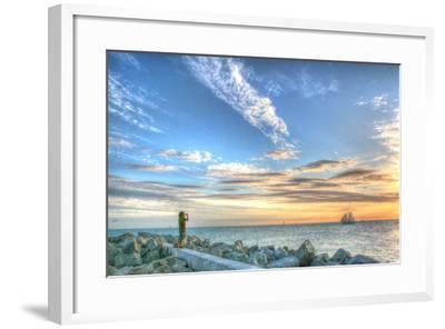 Key West Lone Figure Sunset-Robert Goldwitz-Framed Photographic Print