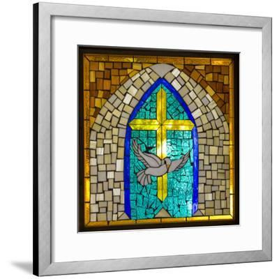 Stained Glass Cross V-Kathy Mahan-Framed Photographic Print