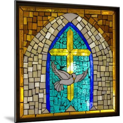 Stained Glass Cross V-Kathy Mahan-Mounted Photographic Print