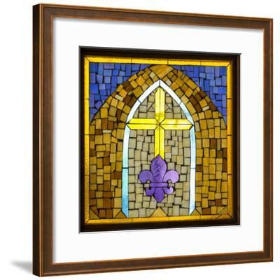 Stained Glass Cross III-Kathy Mahan-Framed Photographic Print