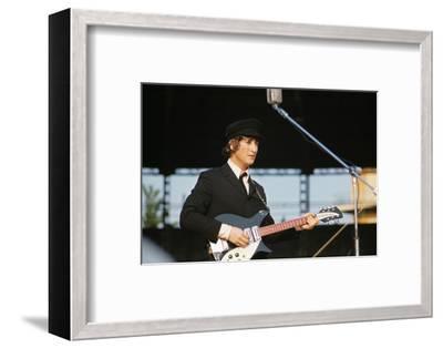 John Lennon Playing Guitar--Framed Photographic Print