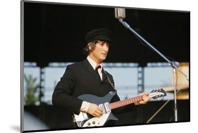 John Lennon Playing Guitar--Mounted Photographic Print
