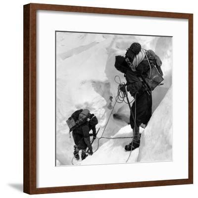 Alpinists Roped Together on the Mount Everest--Framed Photographic Print