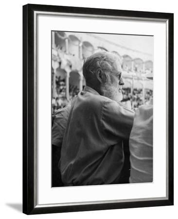 Ernest Hemingway at a Bullfight--Framed Photographic Print