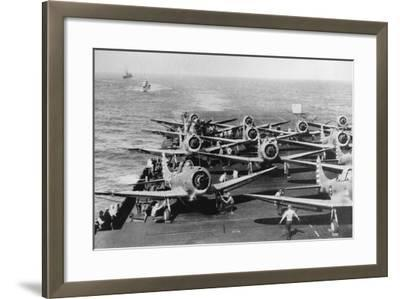 Us Navy Aircraft Carrier before the Attack Agaist Japan--Framed Photographic Print