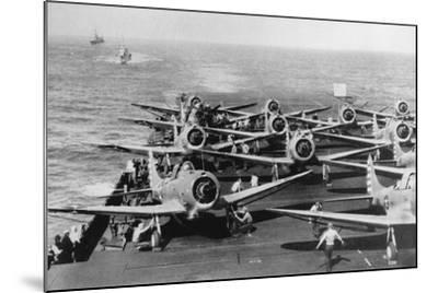Us Navy Aircraft Carrier before the Attack Agaist Japan--Mounted Photographic Print