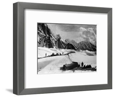 The Tents of the Hunza and of the Italian Alpinists of the Ascent of K2 at Concordia Camp--Framed Photographic Print