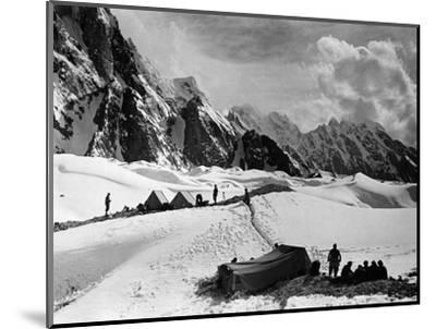 The Tents of the Hunza and of the Italian Alpinists of the Ascent of K2 at Concordia Camp--Mounted Photographic Print
