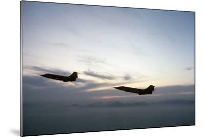 Two Fighter Planes Lockheed F-104 Starfighter in Flight--Mounted Photographic Print