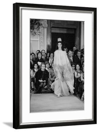A Girl in a Tulle Dress Modeling at Palazzo Pitti--Framed Photographic Print
