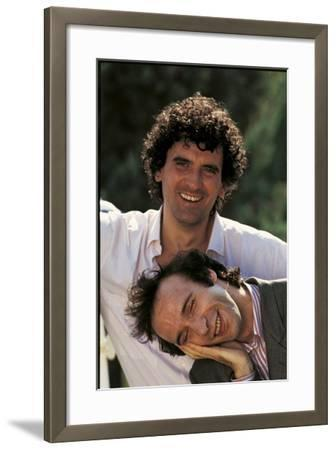 Portrait of Roberto Benigni and Massimo Troisi Smiling--Framed Photographic Print