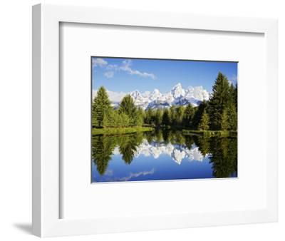 Snow-Capped Teton Range Reflected in Snake River, Wyoming, USA-Mark Hamblin-Framed Photographic Print