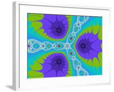 Abstract Purple and Green Fractal Designs on Turquoise Background-Albert Klein-Framed Photographic Print