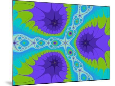 Abstract Purple and Green Fractal Designs on Turquoise Background-Albert Klein-Mounted Photographic Print