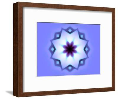 Flower-Like Fractal Design Within Star on Blue Background-Albert Klein-Framed Photographic Print
