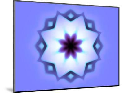 Flower-Like Fractal Design Within Star on Blue Background-Albert Klein-Mounted Photographic Print