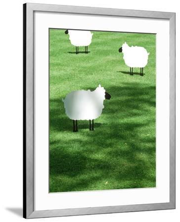 Sheep on Lawn as Decoration, Perfect Striped Lawn-Georgia Glynn-smith-Framed Photographic Print