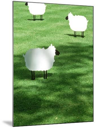 Sheep on Lawn as Decoration, Perfect Striped Lawn-Georgia Glynn-smith-Mounted Photographic Print
