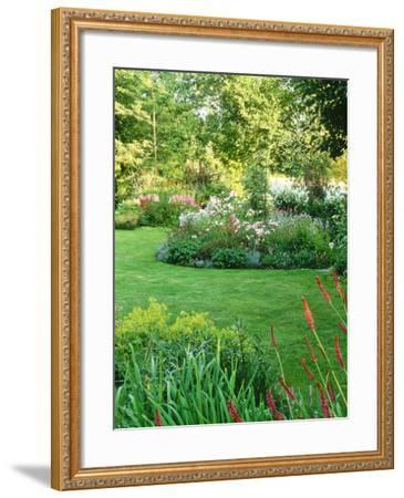 Island Beds Planted with Lychnis, Rosa, Caltha Palustris (Kingcups), Iris & Polygonium-Sunniva Harte-Framed Photographic Print