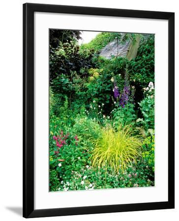 Country Garden with Colourful Perennials, Pond, Greenhouse and Statues, Sharcott Manor, Wiltshire-Lynn Keddie-Framed Photographic Print