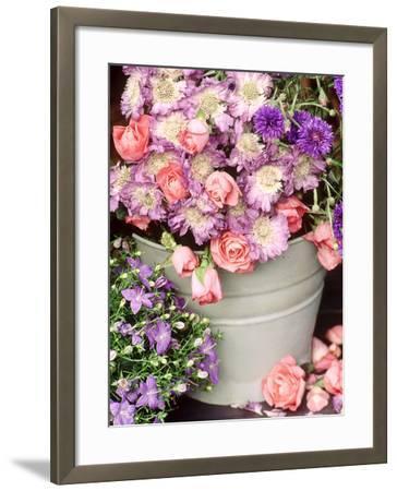 Summer Flowers in Bucket, Rosa, Scabiosa, Centaurea, Campanula-Lynne Brotchie-Framed Photographic Print