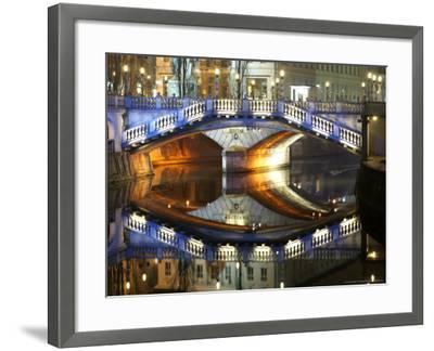 Triple Bridge at Night, Slovenia-David Clapp-Framed Photographic Print