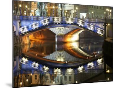 Triple Bridge at Night, Slovenia-David Clapp-Mounted Photographic Print