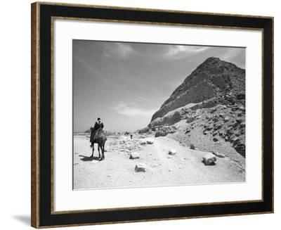 First Stepped Pyramid with Camel Rider, Egypt-David Clapp-Framed Photographic Print
