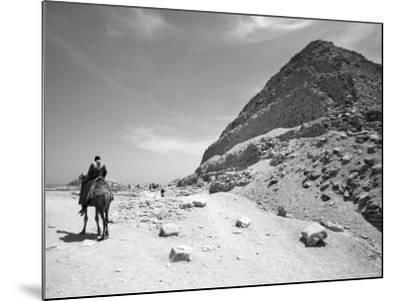 First Stepped Pyramid with Camel Rider, Egypt-David Clapp-Mounted Photographic Print