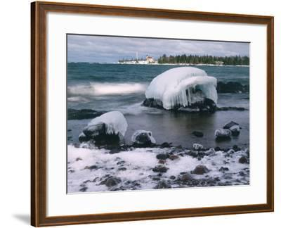 Ice Formations on Lake Superior Below Copper Harbour Lighthouse, Keweenah Peninsula, Michigan, USA-Willard Clay-Framed Photographic Print