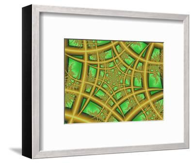 Abstract Web-Like Fractal Patterns on Green Background-Albert Klein-Framed Photographic Print