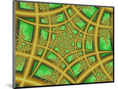 Abstract Web-Like Fractal Patterns on Green Background-Albert Klein-Mounted Photographic Print