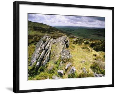 Hookney Tor in Stormy Summer Weather, Devon, UK-David Clapp-Framed Photographic Print