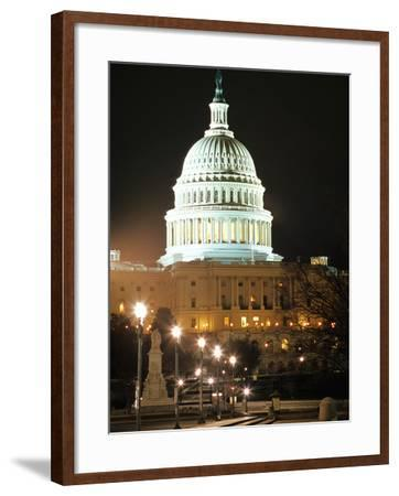 Night Shot of the United States Capitol Building and Capital Hill, USA-David Clapp-Framed Photographic Print