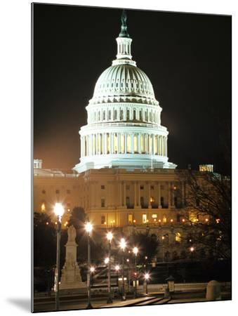 Night Shot of the United States Capitol Building and Capital Hill, USA-David Clapp-Mounted Photographic Print