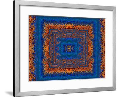 Blue and Orange Morrocan Style Fractal Design-Albert Klein-Framed Photographic Print