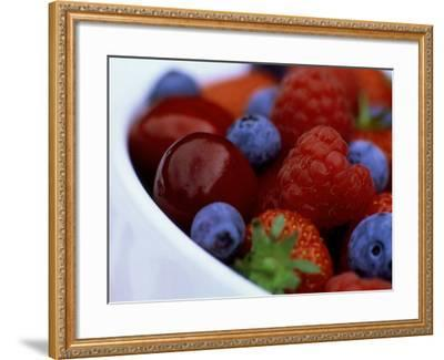 Summer Fruits in White Ceramic Bowl: Strawberries, Raspberries, Blueberries and Cherries-James Guilliam-Framed Photographic Print