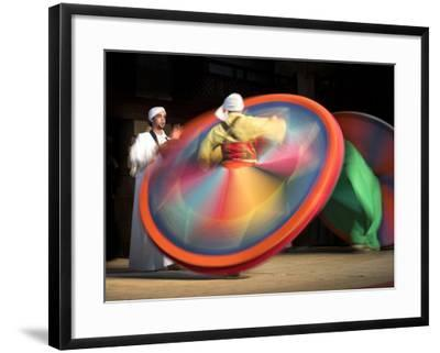 Solo Drummer and Two Sufi Dancers, Egypt-David Clapp-Framed Photographic Print