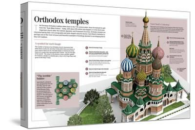 Infographic About Orthodox Temples (Cathedral of Saint Basil). Moscow, Built Between 1555 and 1561--Stretched Canvas Print