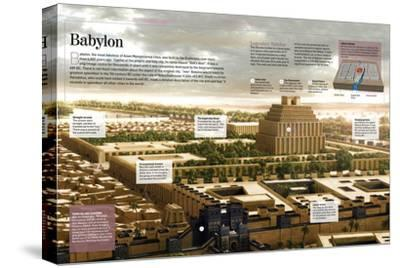 Infographic About Babylon (12th Century BC), Religious Capital of the Mesopotamian Empire--Stretched Canvas Print