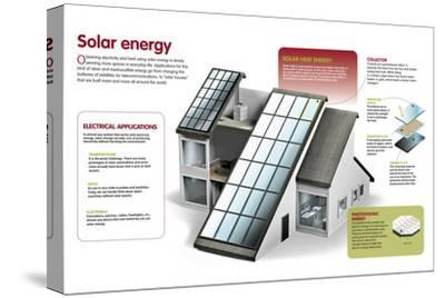 Infographic About the Use of Solar Power to Generate Electricity and Heat at a Domestic Level--Stretched Canvas Print