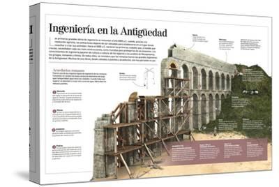 Infografía Sobre Las Obras De Ingeniería Romanas, Con Detalle De La Construcción De Un Acueducto--Stretched Canvas Print