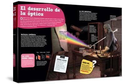 Infografía Sobre La Óptica, Su Evolución Desde La Antigüedad Hasta El Siglo--Stretched Canvas Print
