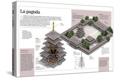 Infografía Sobre Las Pagodas, Concretamente La Del Templo Budista Horyu-Ji, En Japón--Stretched Canvas Print