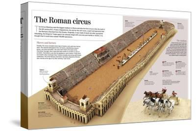 Infographic About the Charioteer Combats in the Roman Circus Maximus--Stretched Canvas Print