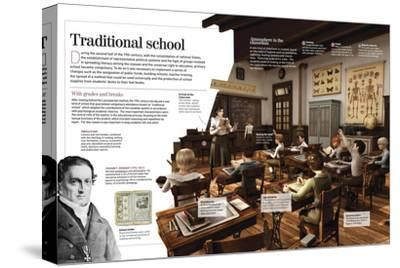 Infographic About Education in the 14th Century as the Evolution of Lasallian School--Stretched Canvas Print