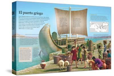 Infografía De Un Puerto De La Grecia Clásica, Principal Ámbito De Intercambio De Mercancías--Stretched Canvas Print